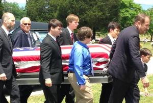 Flag covered coffin